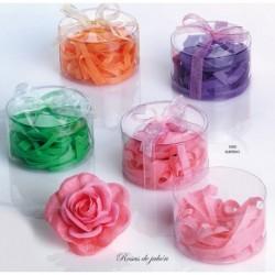 Flor de jabón con virutas de jabón c/caja y lazo