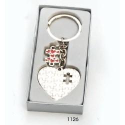 Llavero corazón puzzle c/caja regalo plateada