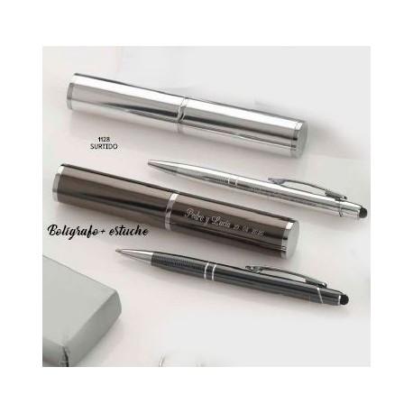 Set bolígrafo puntero táctil aluminio y estuche aluminio