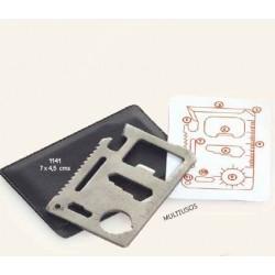 Tarjeta acero multiusos c/ funda y caja plateada de regalo. 8x5,5 cm