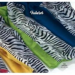 Fular cebra y color stdo. 150x50 cms