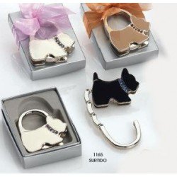 Cuelgabolsos perro collar brillantes plegable c/imán c/caja plateada. 6 cms