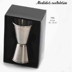 Medidor de licor doble (40-25 ml.) para combinados. c/caja de regalo. 8 cm