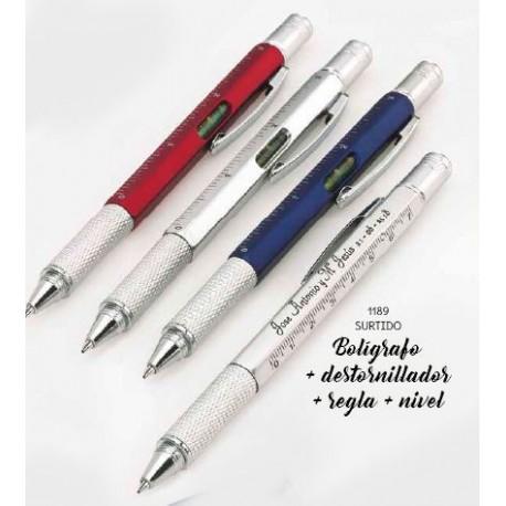 Bolígrafo destornillador, regla, nivel stdo. 14 cms