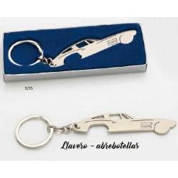 Llavero coche abrebotellas c/caja de regalo plateada. 9 cms