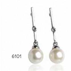 Pendientes perla brillante c/estuche elegante negro y plata