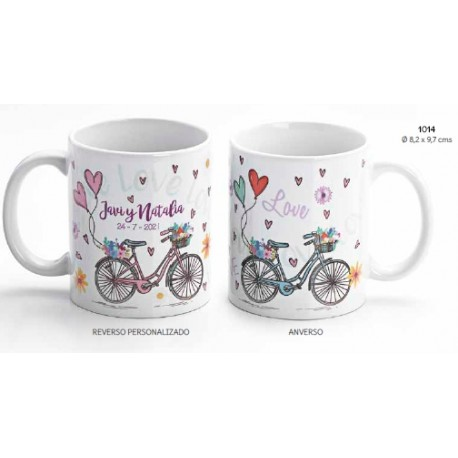Taza bicicleta corazones boda c/caja de regalo.