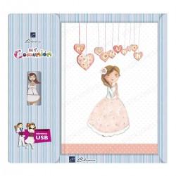 Libro de firmas + USB  niña corazones