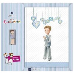 Libro de firmas + USB  niño corazones
