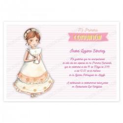 Invitacion de comunion altar vestido caliz