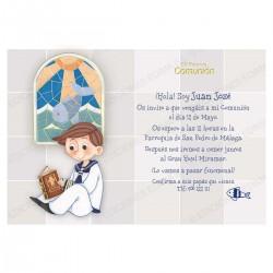 Invitación de comunión niño vidriera