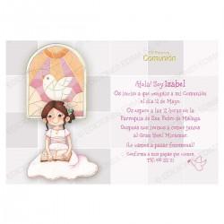 Invitación de comunión niña vidriera