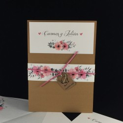 Invitacion de Boda flores portada kraft