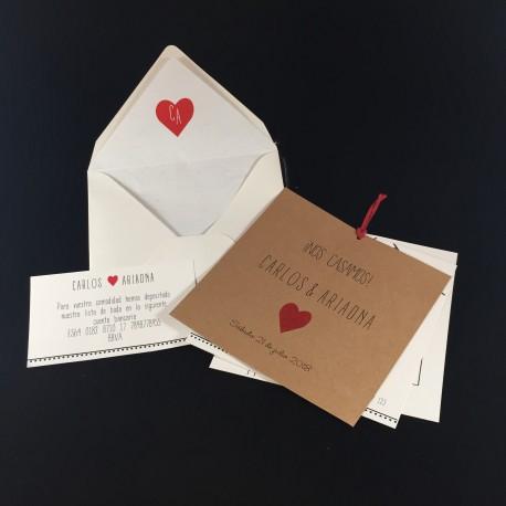 Invitacion de Boda corazón rojo portada kraft