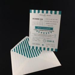 Invitacion de Boda calendario verde agua