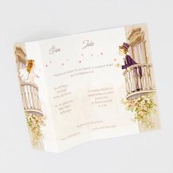 Invitacion de boda novios balcon