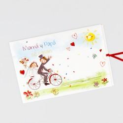 Invitacion de boda mama y papa se casan bicicleta