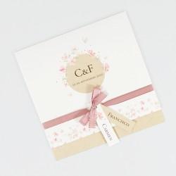 Invitacion de boda flores rosadas