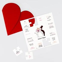 Invitacion de boda puzzle corazon rojo