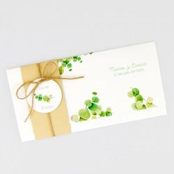 Invitacion de boda hojas verdes