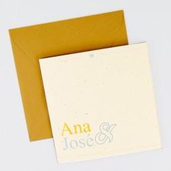 Invitacion de boda confeti dorado