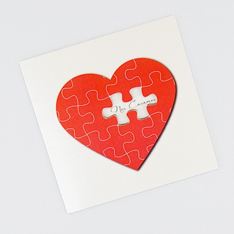 Invitacion de boda puzzle corazon portada