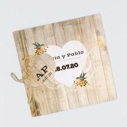 Invitacion de boda tablas de madera