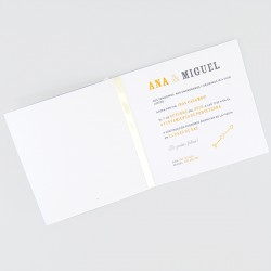 Invitacion de boda amarilla con lazo