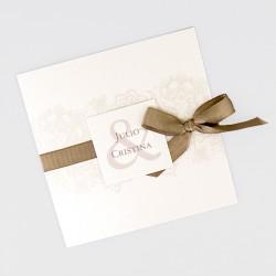 Invitacion de boda lazo chocolate