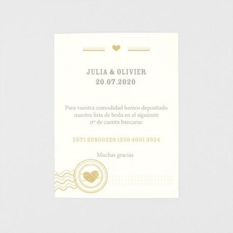 Tarjeta adicional pasaporte a la boda