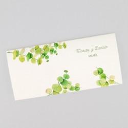 Menu para boda hojas verdes