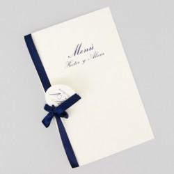 Menu para boda tarjeton azul