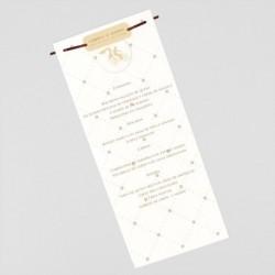 Menu para boda elegante lazo marfil