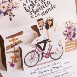 Invitación de boda novios bici