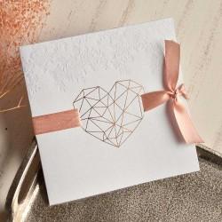 Invitación de boda corazón metálico