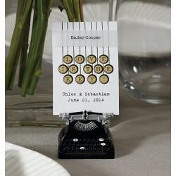 Soporte para tarjetas en forma de máquina escribir