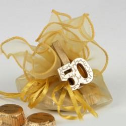 Pinza madera dorada 50 aniversario