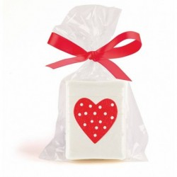 Jabón corazón en bolsa de regalo + lazo