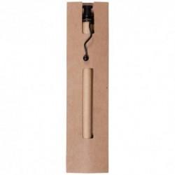 Bolígrafo kraft presentado en funda de cartón