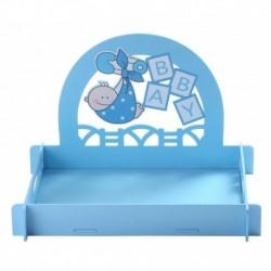 Expositor bautizo azul