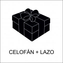 Celofán + lazo + tarjeta