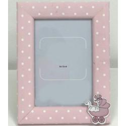 Portafoto madera rosa puntos