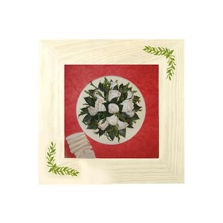 Cuadro madera blanco inmaculado ramo novia