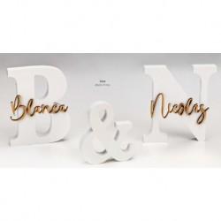 Set iniciales madera lacada blanca con nombres madera personalizado