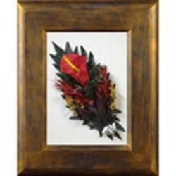 Cuadro madera malva-oro flor variada