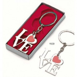 """Llavero metal """"love"""" c/caja de regalo plateada"""