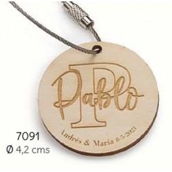 Llavero madera círculo personalizado nombre invitado/a y novios c/bolsa