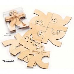 Set 4 posavasos madera caritas c/caja