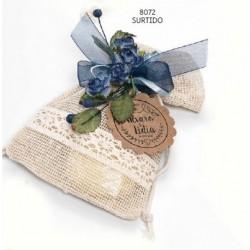 Bolsita cenefa puntilla c/1 jabón y flor ramito lazo organza