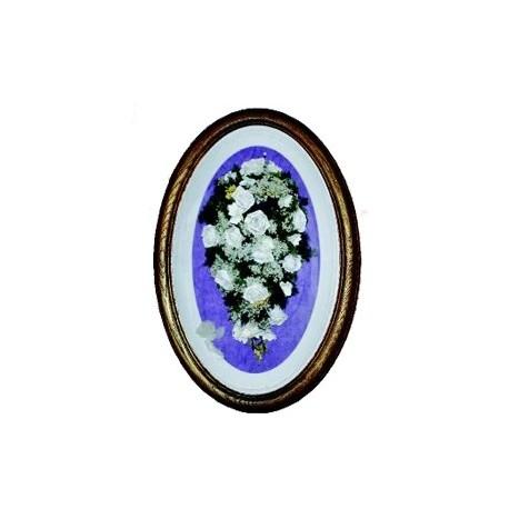 Cuadro madera ovalado nogal cupula ramo novia